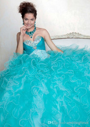 Wholesale 2015 New Arrivals Ball Gown Sweetheart Lace up Back Floor Length Ruffle Beads Organza Quinceanera Dresses DQ06