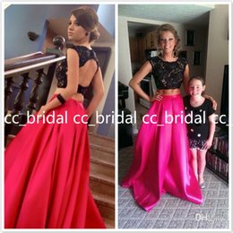 Wholesale 2015 Two Piece Long Prom Dresses with Pockets Black Lace Crop Top For Sale Plus Size Personalized th Grade Dance Teens Cheap Vestidos