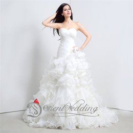 Wholesale 2015 New Sweetheart Ball Gown Wedding Dress Ruffled Organza Bridal Dresses Ready to SHip