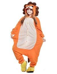 Wholesale Orange Lion Onesie For Adults Unisex Animal Jumpsuits Flannel Pajamas Kigurumi Hoodies Winter Costume Cosplay Sleepwear Homewear