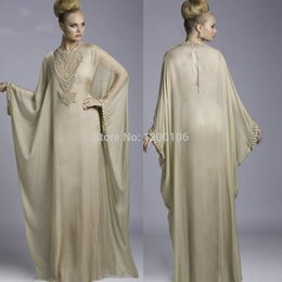 Wholesale Vintage High Neck Champagne Chiffon Gown Vestido Abaya Kaftan Dubai Long Evening Prom Dresses