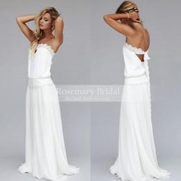 Wholesale Vintage Bride Dresses s Beach Wedding Dress Cheap Dropped Waist Bohemian Strapless Backless Boho Bridal Gowns Lace Ribbon Custom Made