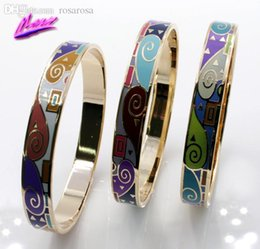 Wholesale-Great Value Brand Product Newest Hot Selling 1CM Width Rose Gold Plated Byzantinism Colorful Enamel Jewelry Bangle Bracelets B5 from rose value manufacturers