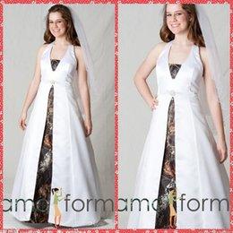Wholesale Уникальный Холтер атласная Camo Свадебные платья Камуфляж длиной до пола Свадебные платья Узелок Вернуться на заказ в Китае Plus Size