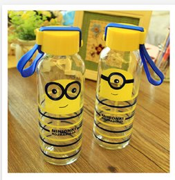 Wholesale 2015 ml Fashion Small yellow cartoon man glasses water bottle portable Despicable Me glass transparent glass bottle my bottle R0922