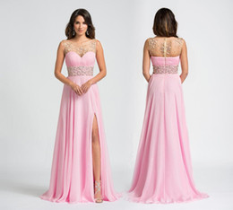 Discount black plus size models Rose Quartz 2016 Prom Dresses Beading Crystal Formal Long Bridesmaid Dresses Party Gowns Jewel Neck Split Front Zip Back Chiffon Fabric