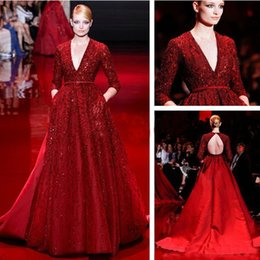 Wholesale Luxury Zuhair Murad Collection Evening Dresses Deep V Neck Long Sleeves Beaded Dark Red Plus Size Prom Dress Sweep Train