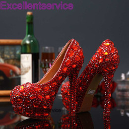 Wholesale Hot Sale Graduation Party Prom Shoes High Heel RED Crystals Rhinestones Bridal wedding shoes Diamond Lady Shoes for Wedding Party
