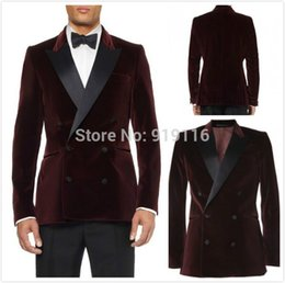 Wholesale Double Breasted Burgundy Velvet Groom Tuxedos groommens suits wedding suits for mens Bestman s wedding suits jacket Pants tie pockets quare