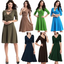 Wholesale 2016 Plus Size Dresses For Women Fashion V Neck Half Sleeves Waisted A Line Long Dresses