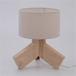 Wood Desk Lamp Creative Simple Table Lamp Natural Color Living Room Children room Bedside Solid Wood Fabric Lamp Shade Table Lights