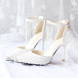White Pearl Ankle Strap High Heels Online | White Pearl Ankle ...