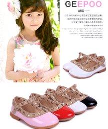 Wholesale 2015 Patent Leather Girls Princess Summer Rivet Flats Sandals Casual Children Round Toe Ballet Ballerina Designer Kids Dance Shoes