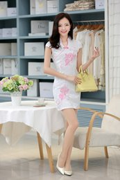 Wholesale 2015 spring Vintage Chinese Dresses Embroidery Short Mini Sheath Cheongsam Dresses With High Neck And V Neck