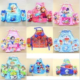Wholesale 16 styles Frozen frover apron Childrens Cartoon Cooking Art Painting Apron Aprons Oversleeves big hero sofia mickey apron without hangers