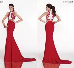 Wholesale Tarik Ediz Hot Sale Two Pieces Evening Dresses Mermaid White and Red Lace Evening Gowns Formal Prom Party Dresses