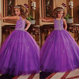 Wholesale Glitz Pageant Dresses Ball Gown Purple Beads Flowers Floor Length pageant dresses for little girls Organza Custom Made AE519A