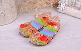 Wholesale Summer new fashion children daughter Princess glitter crystal sandals hollow tunnel lovely fashion girls sandals Purple pink gold silver