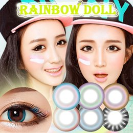 Wholesale Rainbow Doll Prescription Contact Eye Lenses Lens Colored Lens Baby Coloured Blue Green Korean Contact Lenses myopic lens