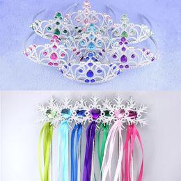 Wholesale Snowflake ribbon wands crown set fairy wand girl Christmas party snowflake gem sticks magic wands headband elsa crown tiara colorful