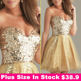 Wholesale Cheap In Stock Sweetheart Blush Homecoming Dresses Gold Sequins Backless Short Prom Party Cocktail Gown Royal Blue Black White Under