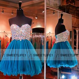 Wholesale Short Mini Beaded Bodice Tulle Skirt A Line Prom Dresses with Romantic Sweetheart Neckline Sleeveless Corset Back Customized Party Gowns