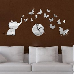 top fashion hot baby mirrored acrylic wall clock modern furniture design living room mirror stickers background free shipping baby modern furniture