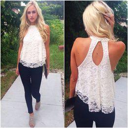 Wholesale 2015 New Desigal women sexy lace blouses Pierced Tops Women Sleeveless Shirts S XXL