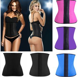 Wholesale 4 Steel Boned Inner Latex Shape Waist Training Corsets Shapers Sport Waist Trainer Women Slimming Body Shaper Rubber Corset Fitness S XL