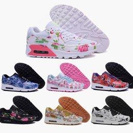 2016 Shoes Run Air Max 2016 New Female air mesh max 90 TKO shoes fashion women Rose flower print run sneakers design popular brand sports running shoes 36-40 inexpensive Shoes Run Air Max