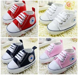 Wholesale 11CM CM CM newborn girl tie with soft bottom canvas shoes Indoor sports baby children walking shoes pair CL
