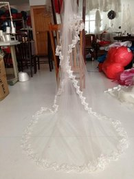 Wholesale Hot sale New Bridal Veils Charming Ivory One Tier Cathedral Bride Wedding Veil Lace Edge Custom Meters Long Bridal Accessories Cheap