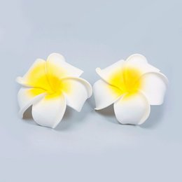 Wholesale 10pcs Hawaiian Foam Flower Bridal Wedding Party Clips For Hair Clip White Plumeria Styling Tools