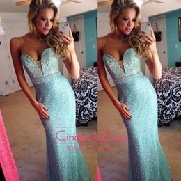 Wholesale Prom Dresses on Angelia Layton Evening Gowns Sequins Sheer Mermaid Glitzy Beaded Dress Aqua Blue Lace