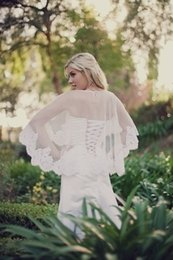 Wholesale Hot Sale Sexy Alencon Lace Roll White Bridal Cape Capelet Cover up Wedding Jackets