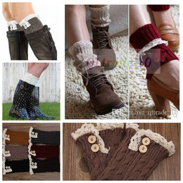 Wholesale 2015 New Hot Sale Women boot cuff Short Button Lace Knitted Leg Warmers Foot socks boot cuff lace knit leg warmer LJJD1240 paris