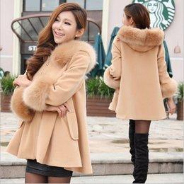 Wholesale Femme de laine Manteaux d hiver femmes coréennes col fourrure Hoodies A ligne Neuf Points Laine Sleeve Blend Coat Cape manteaux d hiver Châle Poncho