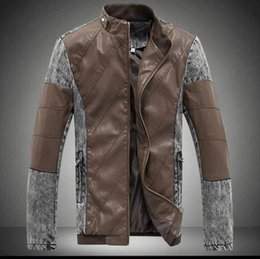 Wholesale In Stock High Quality Cheap Price Hot Sale Men s Faux Leather Washed Personality Color Denim Male Short Motorcycle jacket WD