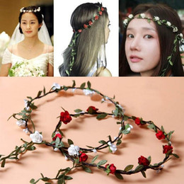 online shopping New Fashion Hot Wedding Bridal Girl Head Flower Crown Rattan Garland Hawaii flower head wreath Hair Formal Stunning Green Accessories FG