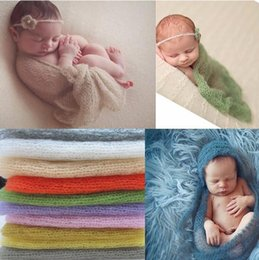 Wholesale handmade crochet bags Stretch Knit wraps Photo Prop Blankets Newborn Baby Solid Photography Wrap hot sale