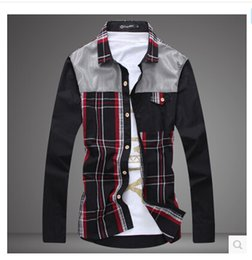 Wholesale 2014 fashion Stitching fashion Han edition leisure men s shirt Plaid shirt male