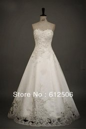 Wholesale 2012 New Arriva Actual Image Strapless Applique A line Handmade Flower Wedding Dress Bridal Gown