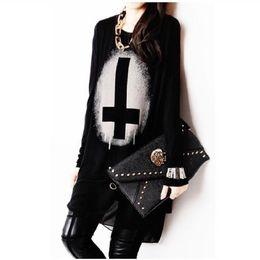 Wholesale HOT Punk Women Loose Cotton Chiffon Tees Black T shirts Tops Vintage Cross Printed Long Sleeve Clothing Shirts
