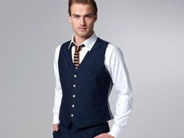 Wholesale HOT Formal Blue Men s Waistcoat New Arrival Fashion Groom Vests Casual Slim Vest Custom Made NO