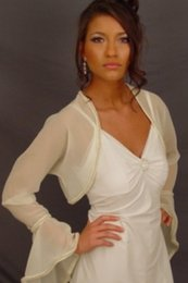 Wholesale Bolero Jackets for Bridal Wedding Dress Strapless with Jacket Sheer Bridal Jackets Long Sleeves Bridal Jacket Wedding Jackets NO006