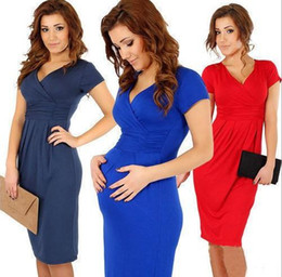Wholesale Hot Sale New Dresses for Pregnant Women Slim Sexy V neck Short Sleeve Dress Elastic Comfortable Pleated Casual dresses Maternity dress