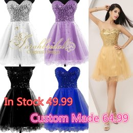 Wholesale Short Gold Sequined Tulle Graduation Dresses For Homecoming Prom Sweet Sixteen Dance Party Gowns Hot Sale In Stock Lace up Under