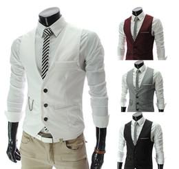 FAST SHIPPING 2015 hommes de l'automne nouvelle hommes coréens de la mode des hommes décontractés gilet blanc veste Slim mince section