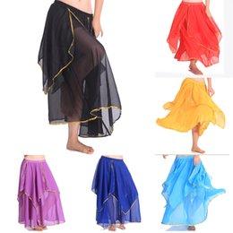 Wholesale Women Belly Dancing Candy Color Costume Skirt Chiffon Gold Edge Dancewear Skirt Free DropShipping