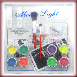 Wholesale UV Glitter Tattoo Kit Colors Temporary UV Powder Glue Tube Brush Art Supply